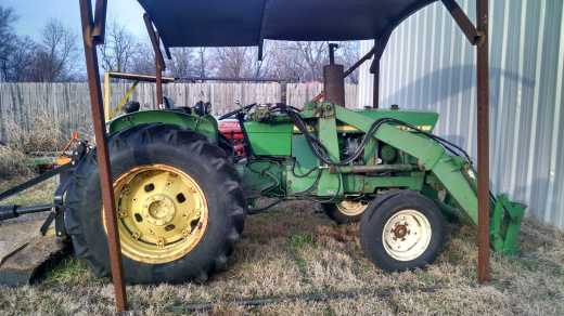 John Deere is a popular brand of tractor.